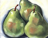 3 Pears Oil Painting 6x6 inches, Kitchen Art, Food