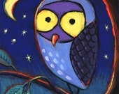 Owl Painting 4x4 inches Night Themed