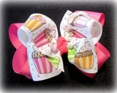Boutique Hair Bow, Birthday Hairbows, Girls Hairbows, Cupcake hair Bow, Birthday Party Bow, Pink Hair Bow, Boutique Hairbows, Large hairows