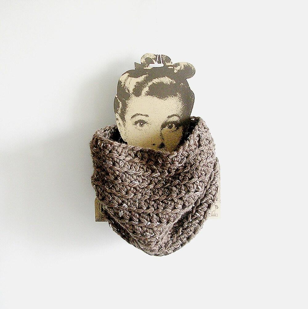 Chunky Cowl Crochet Taupe Scarf Unisex Man Woman Teen Tube-6237
