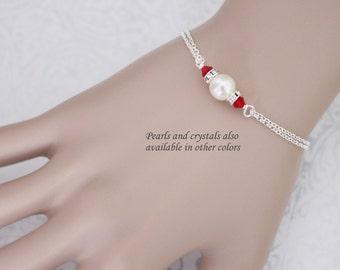 CUSTOM COLOR Bridesmaid Bracelet, Swarovski Ivory Pearl and Red Crystal Bracelet, Bridesmaid Gift, Bridesmaid Jewelry, Maid of Honor Gift