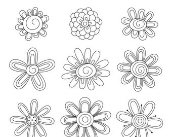 Blooming Doodles Digital Stamps Clipart Clip Art Illustrations - instant download - limited commercial use ok