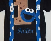 Blue Monster with Cookie Suspender Shirt in Black