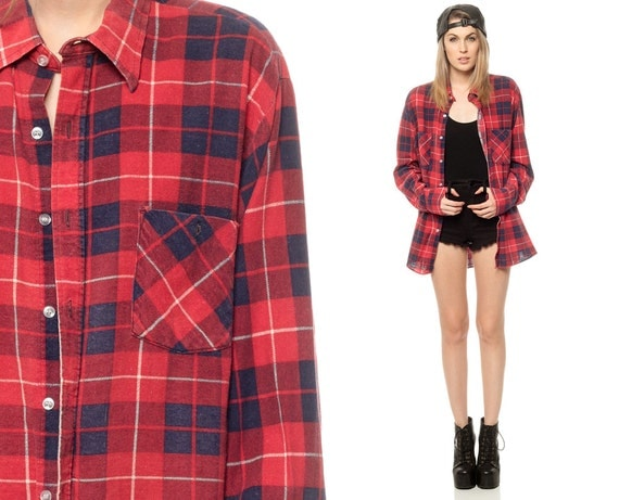 Oversized Flannel Shirt Red Plaid 90s Grunge By Shopexile