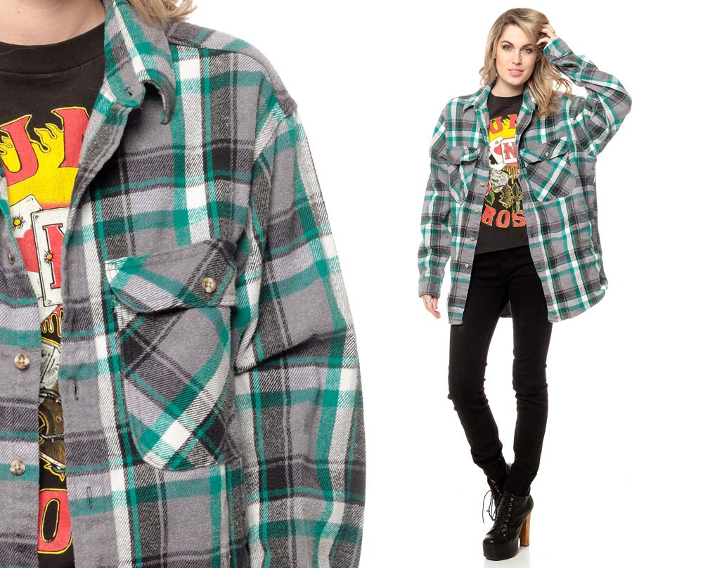 Oversized flannel shirt 90s teal green plaid grunge lumberjack for Oversized red plaid shirt