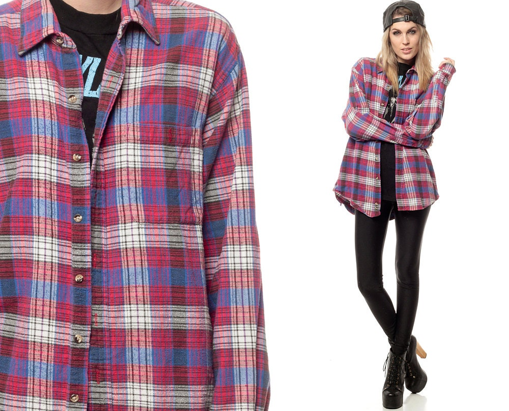 Plaid flannel shirt 90s red white blue grunge checkered button for Red white and blue plaid shirt