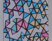 Aceo Geometric Abstract Original Ink on Smooth Bristol Paper Heather Montgomery Art