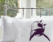 SALE - One (1) Purple Bottle Nose Dolphin White Nautical Pillowcase pillow cover screen printed