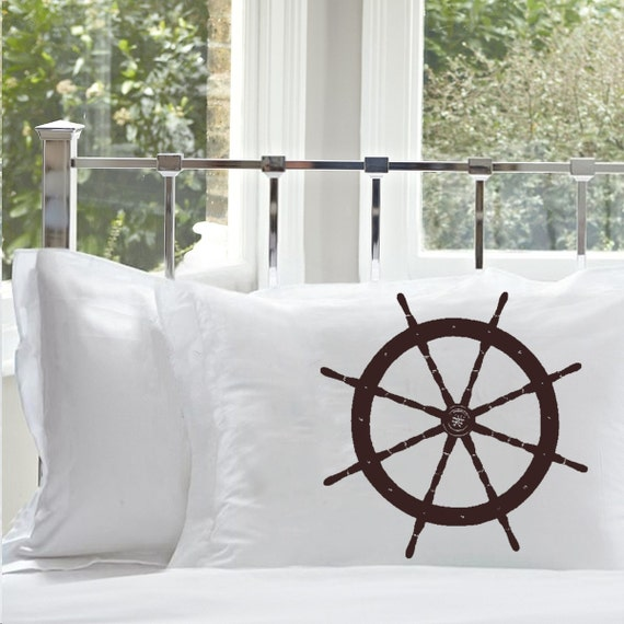 Two (2) Nautical Vintage Ship's Wheel Pillowcase Life Ship steering Pillow case decor beach room coastal decoration bedroom