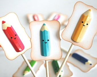 Kawaii Colored Pencils - Cupcake Toppers/Party Sticks