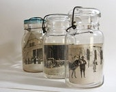 Vintage Glass Canning Jars Photo Display Storage Jar