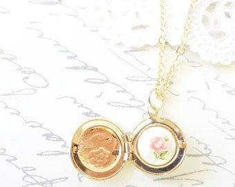 Tiny Gold Vintage Locket - Round Locket - Hidden Treasure - Treasure Inside - Rose Cameo - Limoges