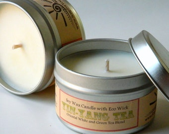 White Tea Soy Candle  / aromatherapy candle / vegan candle fresh and green