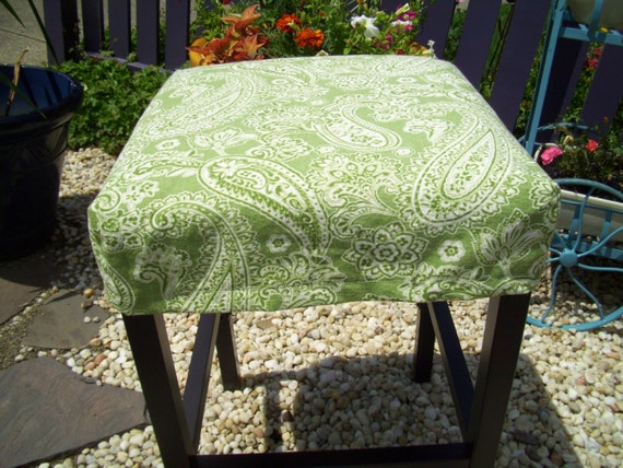 Square Barstool Plain Style Slipcover Green Paisley Bar Stool
