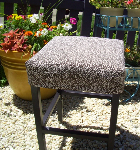 Square Barstool Slipcover Leopard Slipcover Washable Bar Stool