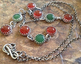 Carnelian Necklace, Canadian Jade Necklace, Sterling Silver Filigree Necklace, Nephrite Jade, Oxidized Silver and Gemstone Dangle Necklace