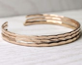 3 stacking cuffs in 1 Medium and 2 thin Ophelia bangle cuffs, custom size with free US shipping