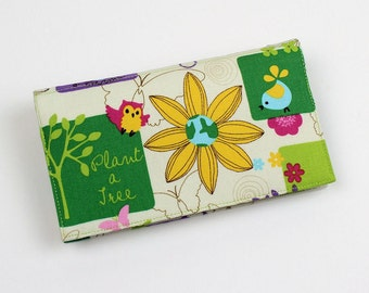 Girl Scouts Checkbook Cover for Duplicate Checks with Pen Holder, Nature, Plant a Tree, Save Water Save Energy