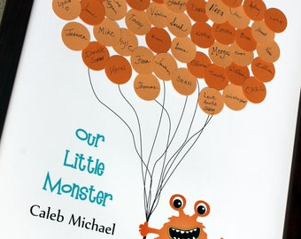 Baby Shower or Birthday Party Guest Book Alternative - Gus the MONSTER