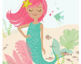 MERMAID wall art - girl's room wall art, bathroom artwork for kids