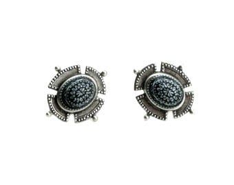 SALE 50% OFF Medieval / Military Inspired Earrings - Cabochon and Crest Ear Studs - w/ Vintage Black on White Etched Mosaic Cabochons