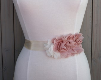 Pink and Ivory Flower Bridal Sash