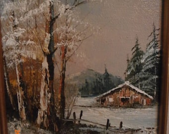 Oil Painting -Cabin in the Woods Framed Signed and numbered R.Sutherland -Vintage Oil Painting