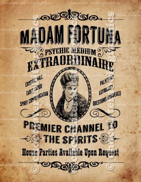 Fortune Teller Halloween Vintage Digital Download Sign