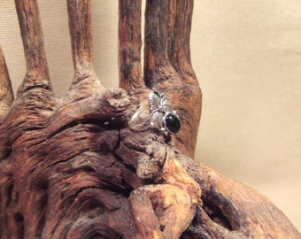 Native American Indian ring -  black onyx in sterling silver  size 7 SALE FREE SHIPPING