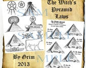 Witches Pyramid Laws, Digital Download Graphic Pages - Book of Shadows, Witchcraft, Occult, Magick, Grimoire