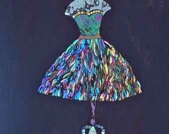 Dress - mosaic - stained glass, shades of blue
