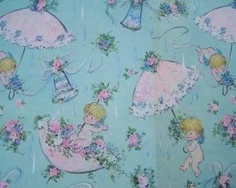 Vintage Baby Shower, Gift Wrap, Wrapping Paper, Baby Umbrellas, Vintage Ephemera, Scrap Booking, Umbrellas Bells, Green Pink Blue