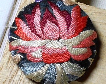 Vintage Embroidered Lotus Brooch Pin