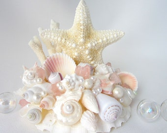 Beach Wedding Cake Topper, Nautical Wedding Cake Topper, Starfish Cake Topper, Sea Glass Cake Topper, Seashell Cake Topper,  #CTJC