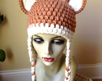 Woman Hat, Crochet Fox Hat, Ears Beanie Girls Teens Women Hat Animal Costume, Chunky, Ear Flaps, Gifts for Her,JE410BF6
