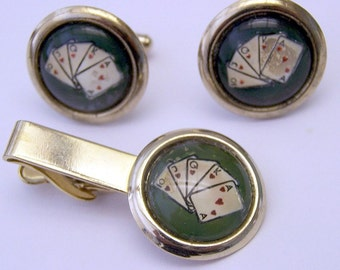 PokerPlaying Cards Cuff Links  Tie Bar Set Vintage Reverse Painted