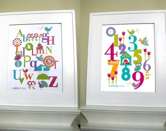 BONUS Buy - Two 8 x 10 Kids Digital Wall Art - ABC & 123 Raspberry Duo