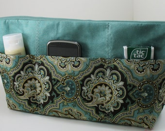 Purse Organizer Insert - With Zipper Closure - Made to Order -5 sizes available-Extra Large Wide Shown Choose Fabric from Chart in picture 4