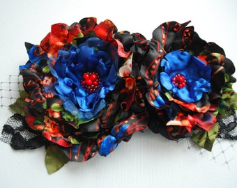 country love, colorful satin flowers, brooch, bridal hair clip, bridesmaids headpiece, sash, weddings accessories, black red blue hair clips