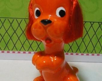 Rare Enesco Orange Dog Figurine with Fiber Ears.