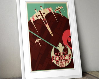 Star Wars Inspired Vintage Offset X-Wing Print (A3)