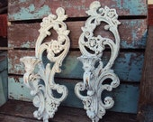 Vintage Shabby Chic Candelabra Wall Sconce Set Candle Holder Repurposed Distressed Chippy Baroque Rococo French Country
