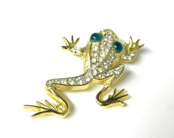 Rhinestone Frog Pin, Green Eyed Frog PIn, Rare Sarah Convetry Brooch, Vintage 1960's Brooch, Golden Ice Frog, Collectable