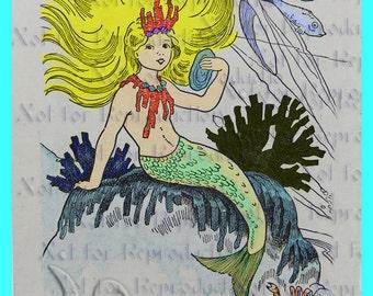 s552 Vintage Little Mermaid Fabric Block Quilt Mermaid Applique For Quilting & DIY Crafts.