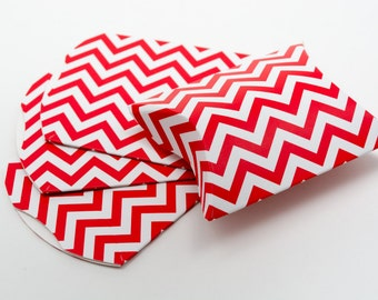 Heavyweight Chipboard Small Red Chevron Pillow Boxes - set of 12 - Great for gifts or favors - 3 1/2 x 3 x 1 Inches