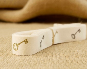 Vintage Keys on Cotton Creme Ribbon - 3/4 Inch Width - Packaging and Gift Ribbon 5 yards