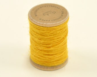 Burlap Twine - 30 Yards on Wooden Spool - Bright Yellow - Golenrod - Color Jute