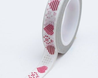 Washi Tape - 10mm - Valentine Assorted Hearts Red Grey - Deco Paper Tape No. 612