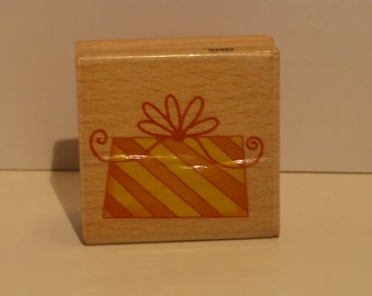 Striped Present with Bow Rubber Stamp
