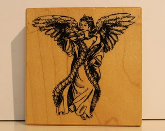 RARE Angel with Violin rubber stamp PSX